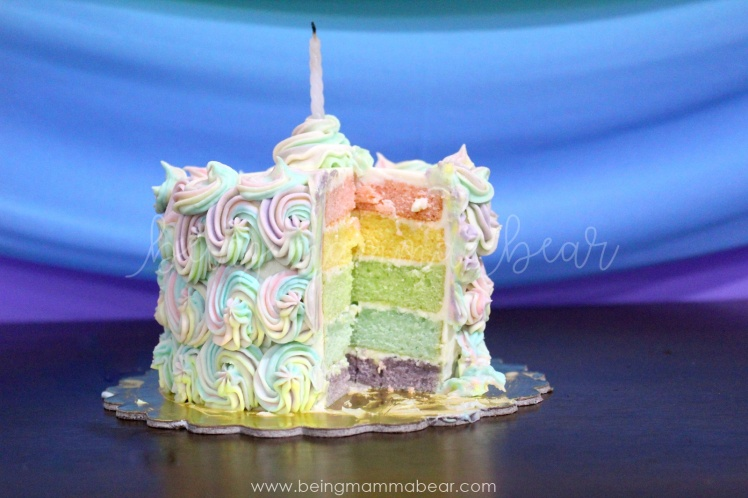 Being Mamma Bear - Unicorn Theme First Birthday Rainbow Cake with Vanilla Buttercream frosting 22
