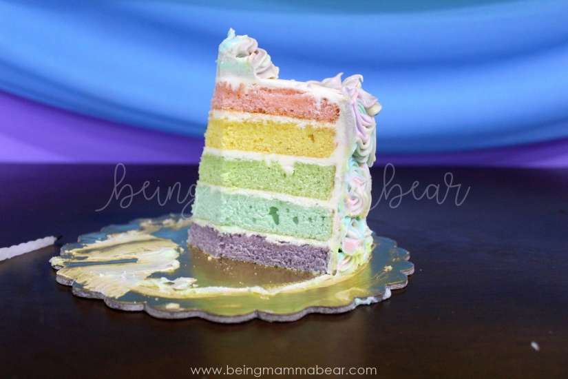 Being Mamma Bear - Unicorn Theme First Birthday Rainbow Cake with Vanilla Buttercream frosting 24