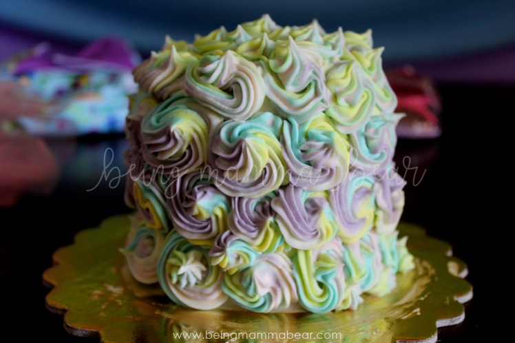 Being Mamma Bear - Unicorn Theme First Birthday Rainbow Cake with Vanilla Buttercream frosting 30.JPG