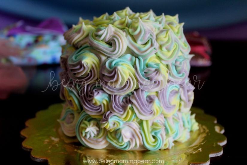 Being Mamma Bear - Unicorn Theme First Birthday Rainbow Cake with Vanilla Buttercream frosting 30.JPG